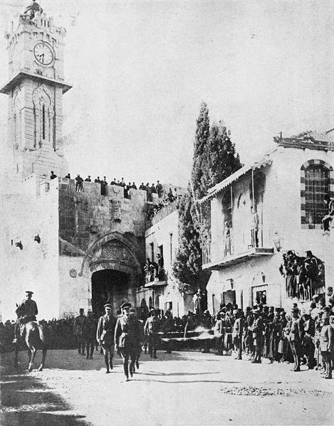 The victorious British General Allenby dismounted, enters Jerusalem on foot out of respect for the Holy City, 11 December 1917-එක වෙඩිල්ලක්වත් පත්තු නොකර 1917 දෙසැම්බර් 11 දා යෙරුසලම් ශුද්ධ නගරය ජෙනරල් ඇලන්බි විසින් ඔටෝමන් තුර්කිවරු වෙතින් යටත් කර ගන්නා ලදී. මෙම ආක්රමනයට කලින් මිත්ර හමුදා විසින් ජෙනරල් වරයාගේ යටත් වෙන ලෙස කෙරෙන නිවේදනයක් ගුවනේ සිට විසුරුව හරින ලදී. එම නිවේදනය දැකීමෙන් තුර්කි හාමුදාවෝ ත්රස්ත වූහ.මන්ද යත් ඔවුන්ගේ ජාතික පුරාවෘතවලට අනුව මතු දිනෙක අල්ලාගේ නභී වරයෙකු යෙරුසලම යටත් කර ගැනීමට පැමිනෙතැයි සඳහන්ව තිබූ බැවිනි.ඇලන්බි යන්න ඔවුන් අල්ලා-නභී ලෙස තේරුම් ගැනීම සටනකින් තොරව යෙරුසලම භාර දීමට හේතුවිය. යෙරුසලම් ශුද්ධ නගරයට අශ්වයන් පිටින් නොව පා ගමනින් ඇතුල් විය යුතු බවට ලංඩනයෙන් ගෙනරල්වරයාට නියෝගයක් නිකුත්වී තිබින.ඒ අනුව ඔහු හා සෙසූ හමුදා නිලධාරීහූ පා ගමනින් ප්රවිශ්ට වන ආකාරයයි මේ.
