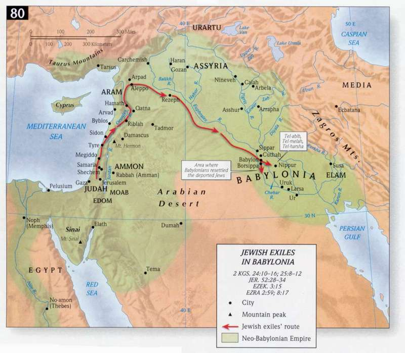 Jews were taken away through this route to Babylon from Judea.